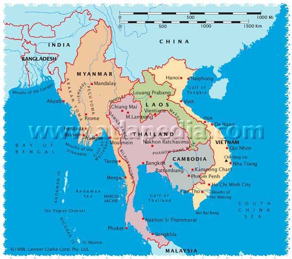 Political Map of Myanmar Thailand Laos Cambodia Vietnam