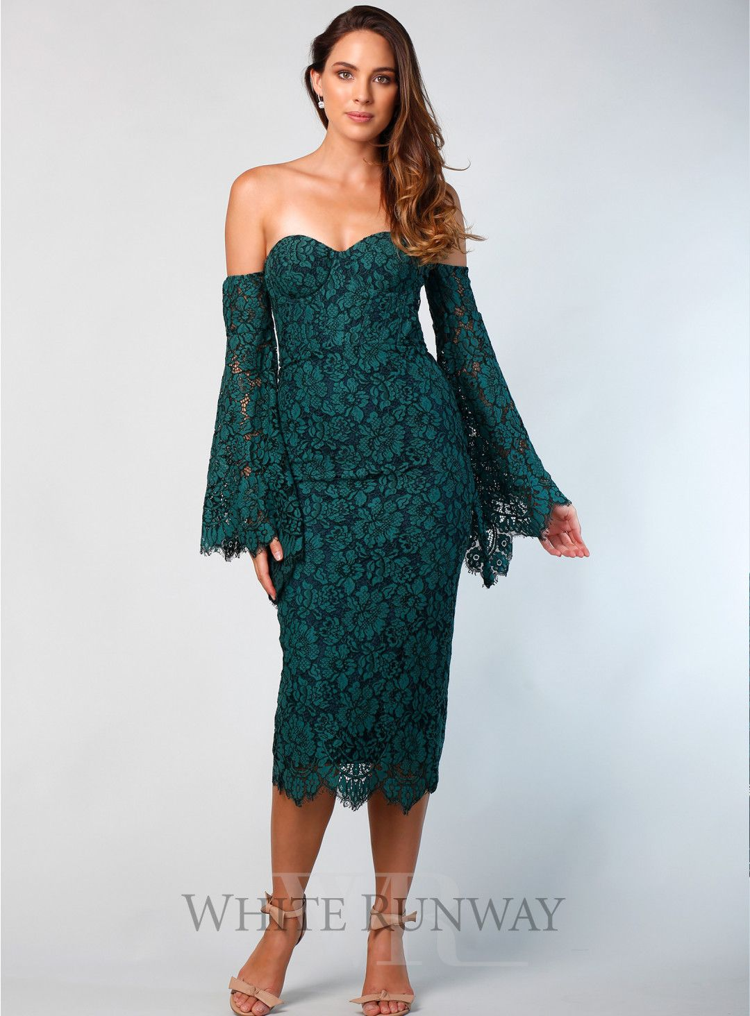 6b4ef565bd7d Forest Heather Dress. A stunning midi dress by Elle Zeitoune. An off  shoulder style featuring scalloped eyelash lace fabric and flared sleeves.