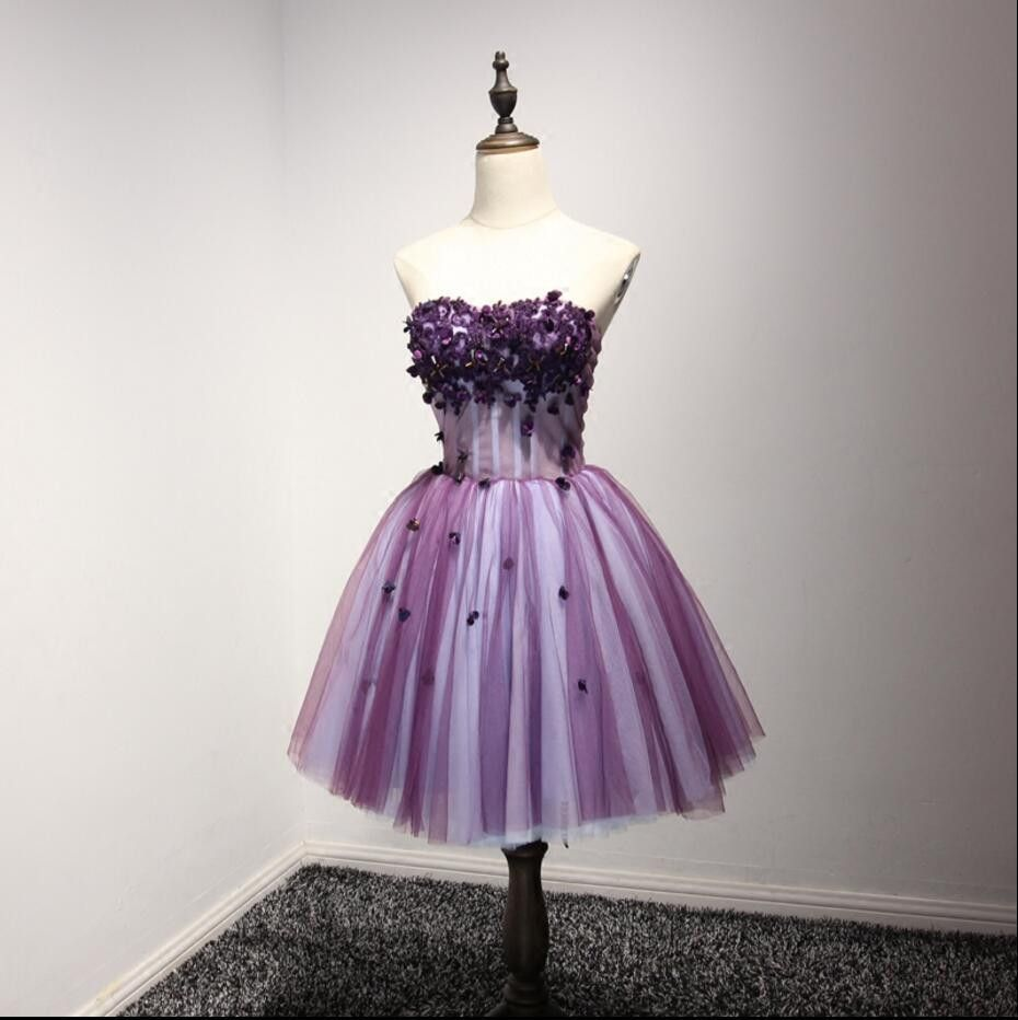 Purple strapless lace homecoming prom dresses affordable short