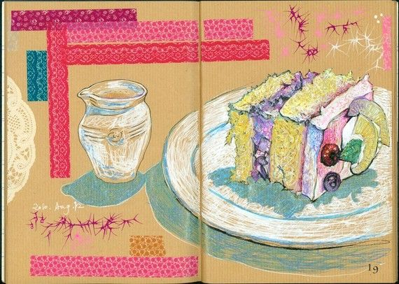 food drink i art zine ying chieh liu on etsy she uses washi tape and skeches love so much