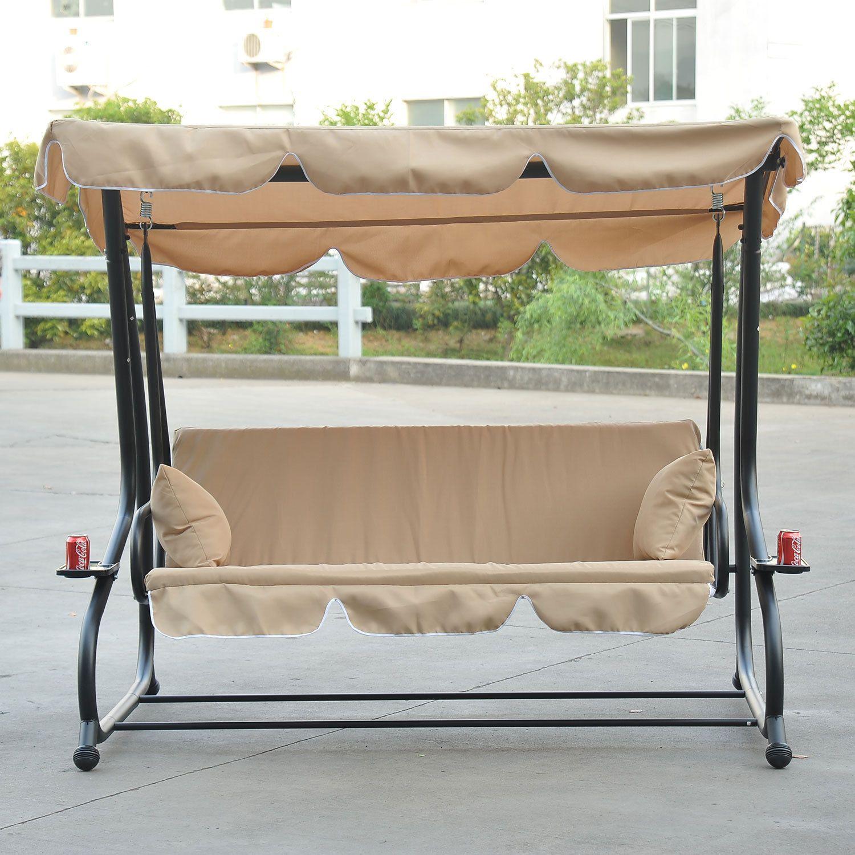 Ultra Heavy Duty Patio Swing Set 3 Seater   750 LBS Beige |  ThePatioDepot.com USA