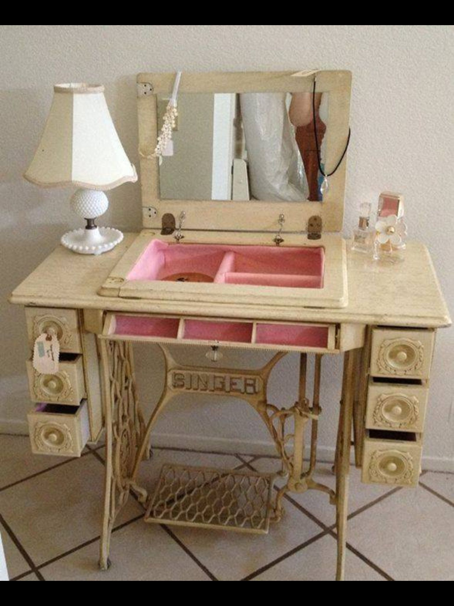 Sewing cabinet makes a cute vanity table