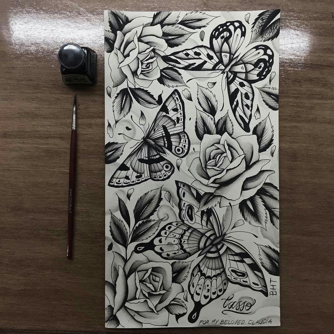 Flash Sheet Blackwork Tattoo Butterfly Tattoo Butterfly Traditional Rose Tradional Tattoo Timeless Tattoo Butterfly Tattoo Blackwork Tattoo