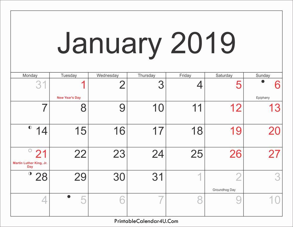 January 2019 Blank Calendar Free Printable Monthly Calendar