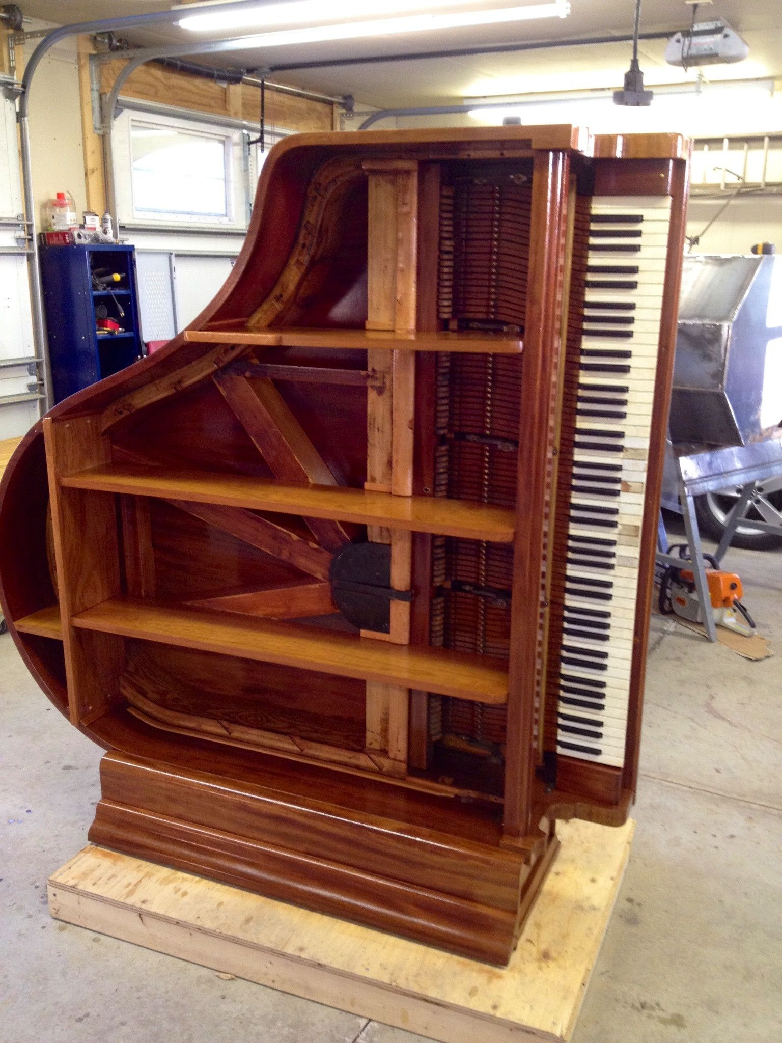 Made A Project Of Turning An Old Broken Piano Into A Nice Shelf How Do You Like It Old Pianos Piano Diy Decor Projects