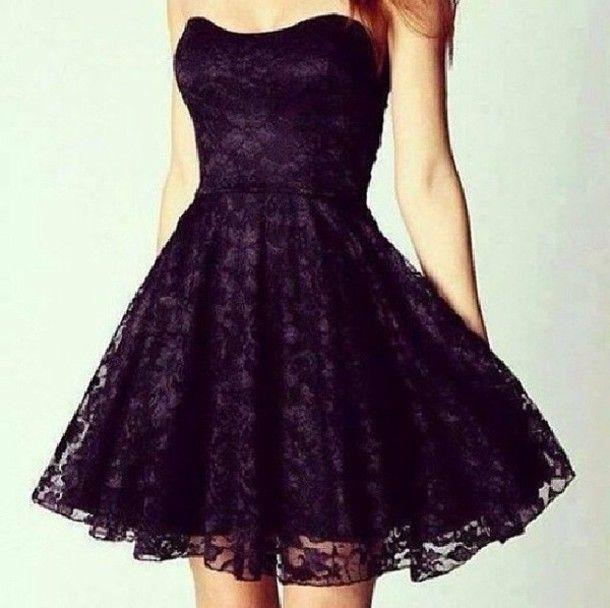 Purple and Black Short Dress