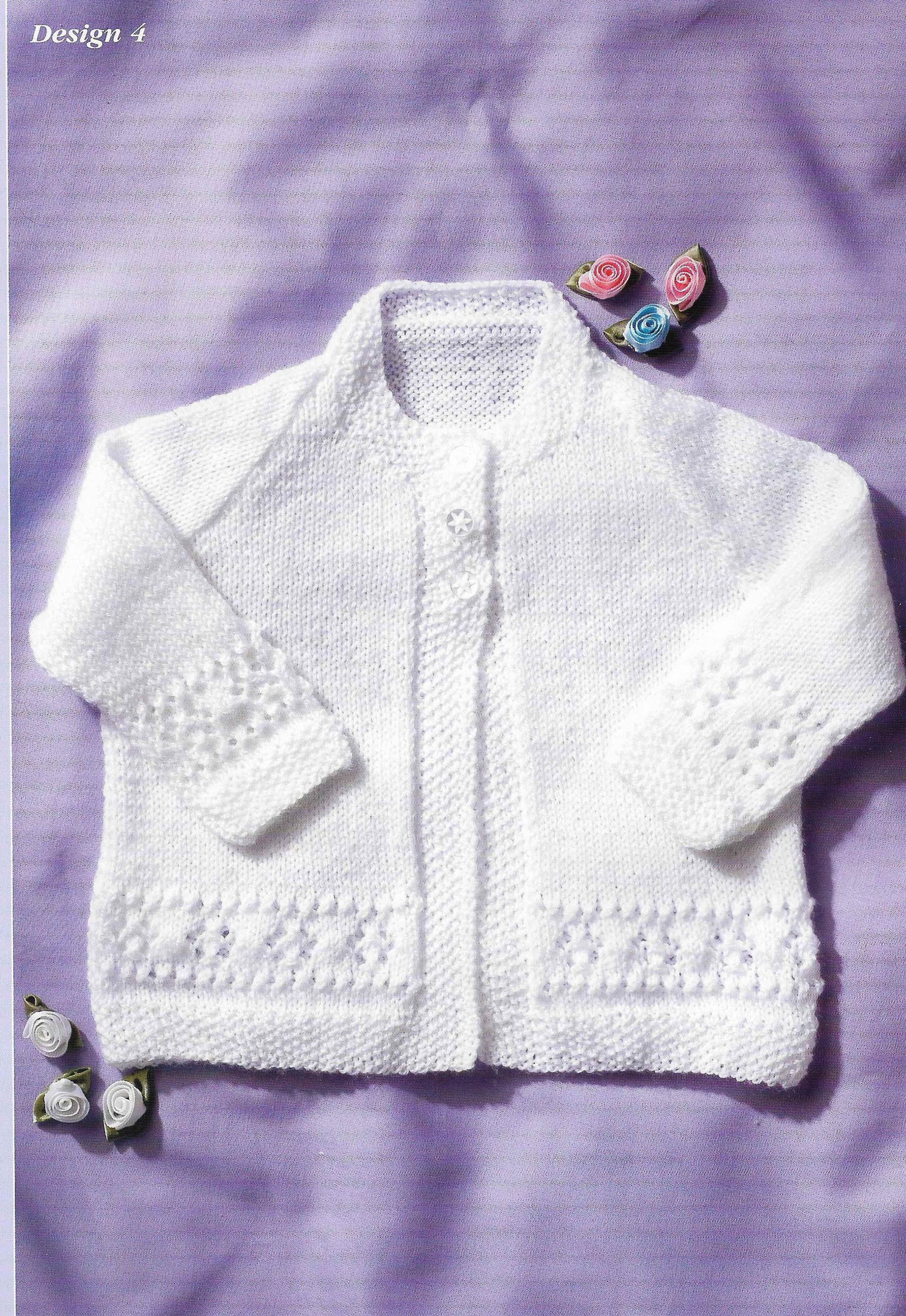 KNITTING PATTERN FOR BABY/'S CARDIGANS X 4 DESIGNS.Premature to 2 years.