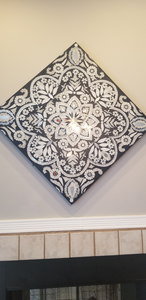 floral medallion blue & white mosaic wall panel in 2020