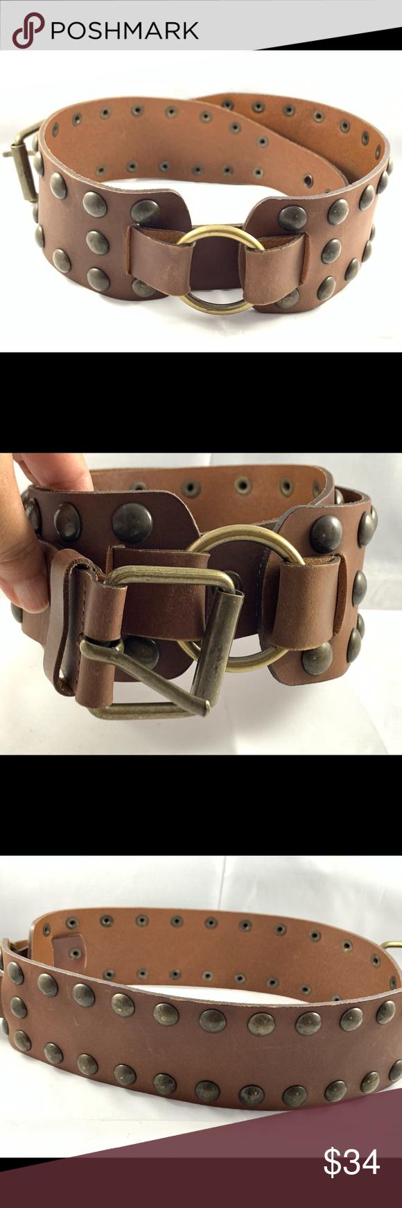 Express Gold Studded Genuine Leather Belt Genuine Leather Belt Genuine Leather Leather