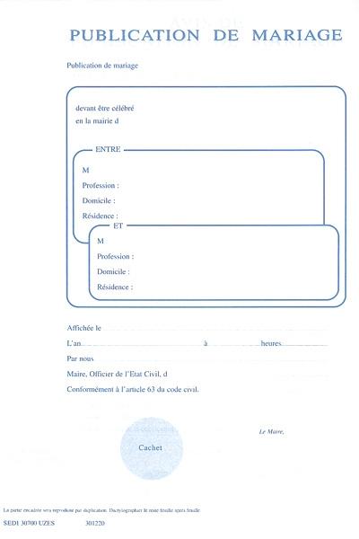 Certificat De Publication Et De Non Opposition Mariage