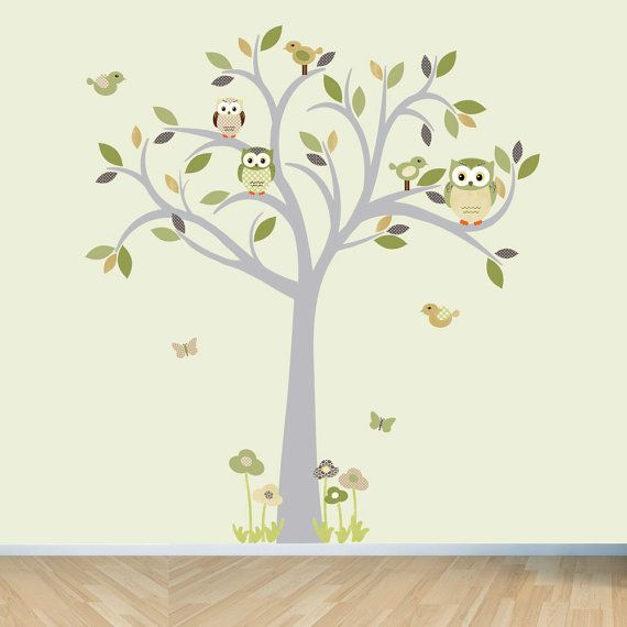 Owl Decal Tree Wall Sticker Moss And Brown Nursery Decor