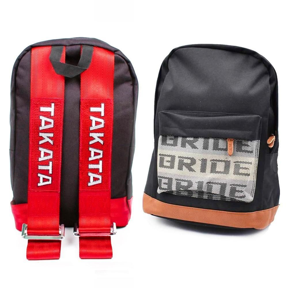 Bride Takata Backpack Red Leather Red Leather Leather Blue Backpack