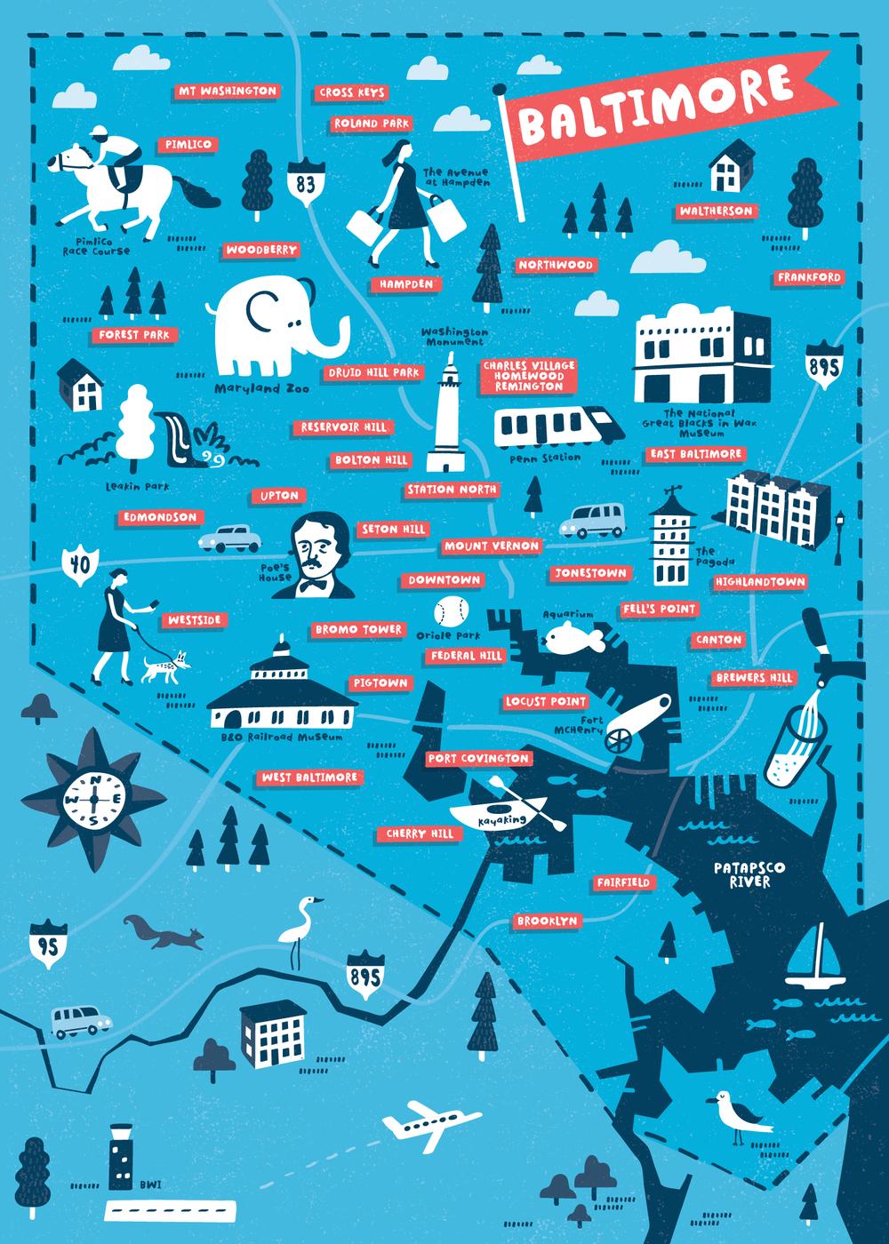 Visit Baltimore Illustrierte Karten Landkarte Und Illustration