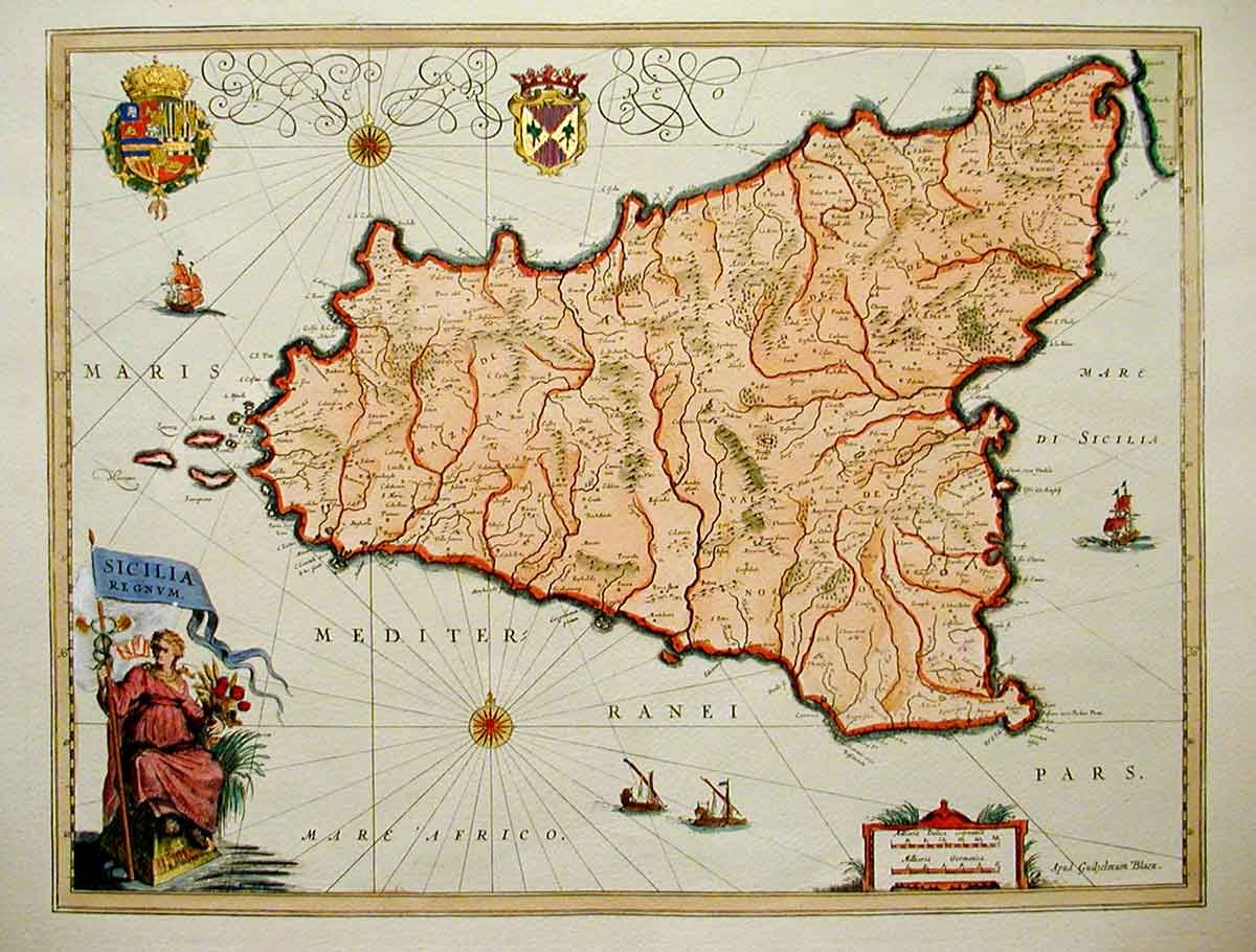 Cartina Sicilia Antica.Map Of Sicily Dating To 1600s Vintage World Maps Sicily Map