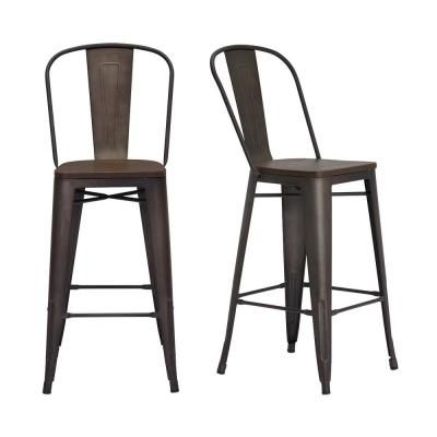 Stylewell Finwick Matte Gunmetal Gray Metal Bar Stool With Back And Wood Seat Set Of 2 17 72 In W X 43 9 In H In 2020 Metal Bar Stools Bar Stools With Backs Bar Stools