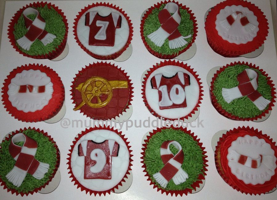 Arsenal themed football cupcakes #cakesforboys #malecupcakes (@Kathy Chan Hodson)