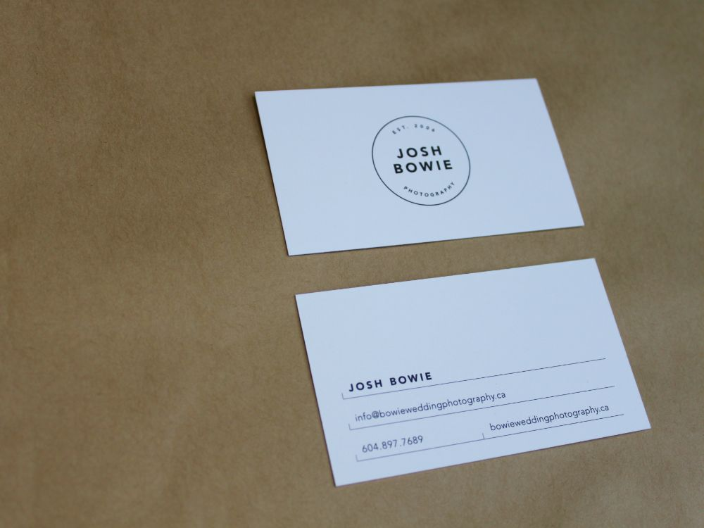 14pt uncoated business card for josh bowie photography in vancouver bc