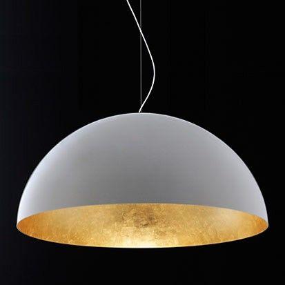 XL Hängelampe 50cm Hängeleuchte gold weiß Pendelleuchte Metall Wohnzimmer