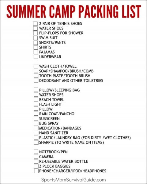 Getting Ready For Summer Camp  Camp Packing List Printable