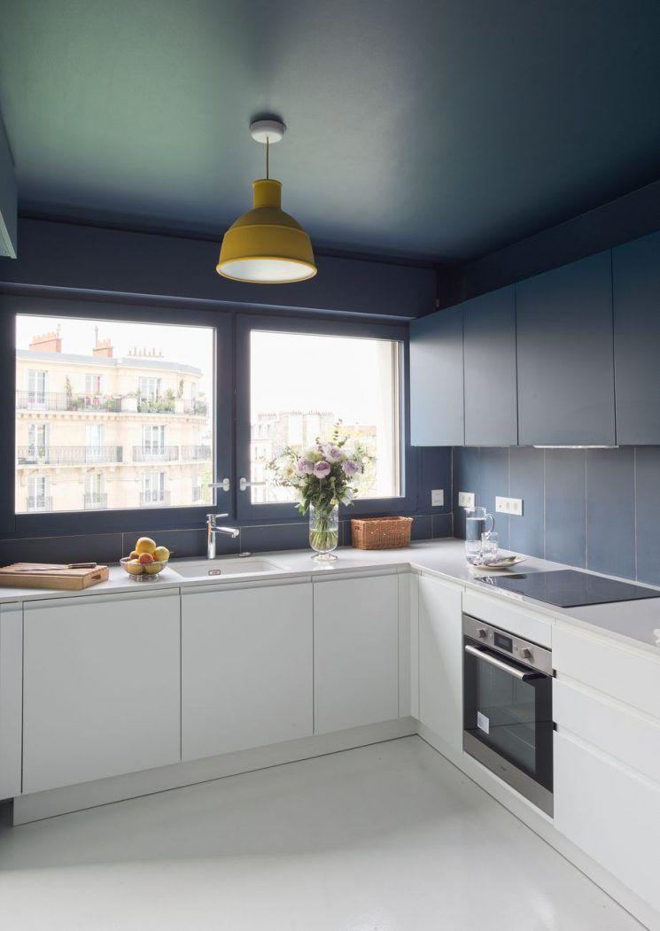 La tentation d 39 une cuisine bleue kitchen cocina meuble cuisine leroy merlin cuisine - Cuisine modulable ...