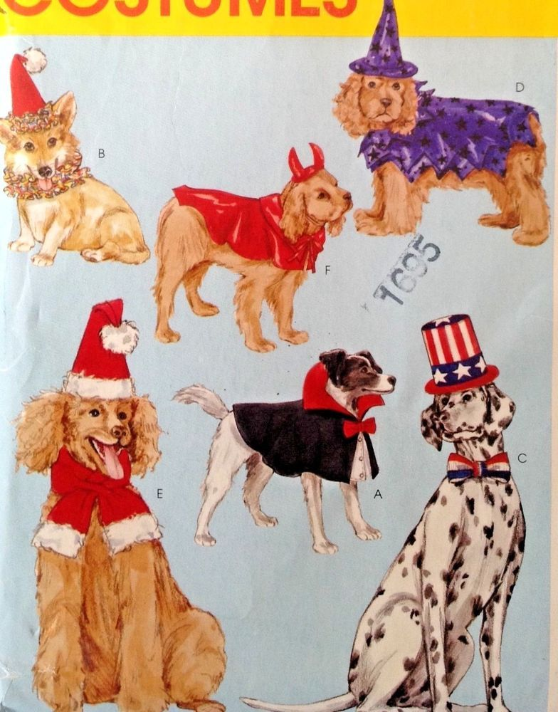 McCalls MP231 Sewing Pattern Pet Dog Clothes Costume Santa Hat Uncle ...