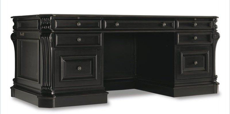 Black Executive Desk Home Office Furniture for Elegance and Modern Looks - Hooker Furniture Telluride 76 Antique Executive Desk With Leather