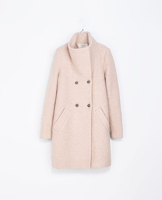 Zara Trf Cappotto Lungo Rosa Langer Mantel Mantel Tuch