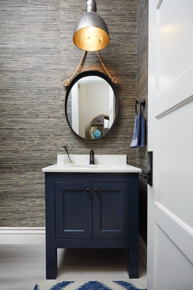 Casual Wallpaper Powder Room Beach Style With Navy Blue Chrome Bathroom Mirrors