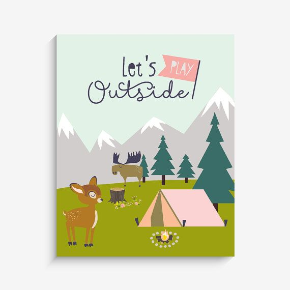 Let's Play Outside Camping Home Decor Nursery by LucyDarlingPrints, $19.99