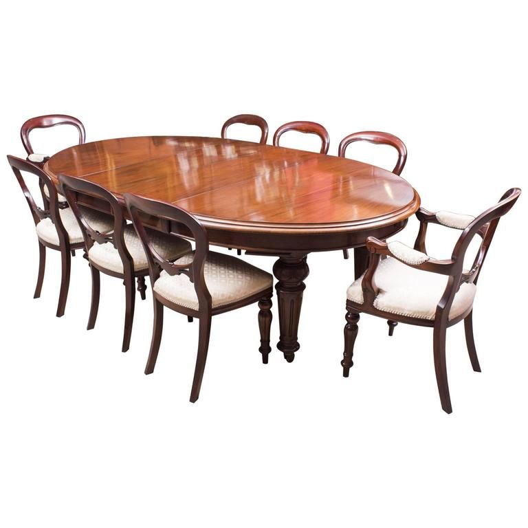Antique Victorian Oval Dining Table And Eight Chairs Circa 1860 Victorian Dining Room Decor Oval Table Dining Antique Dining Rooms