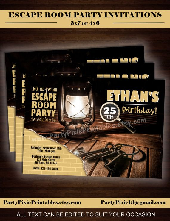 Escape room party invitations 5x7 4x6 by for Escape room party