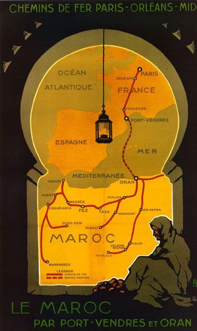 Maroc Morocco Paris France Map Arab Tourism