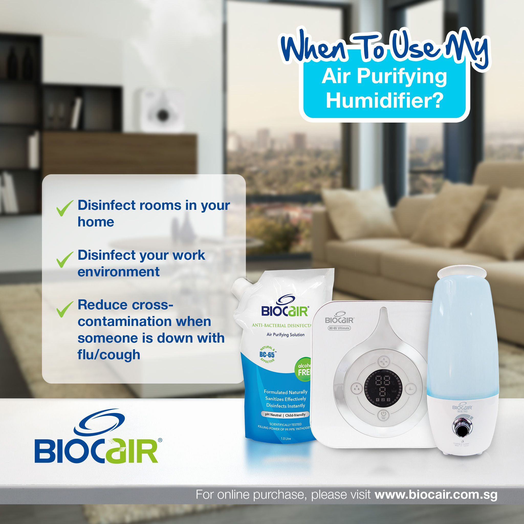BioCair's Air Purifying Humidifier helps to disinfect rooms