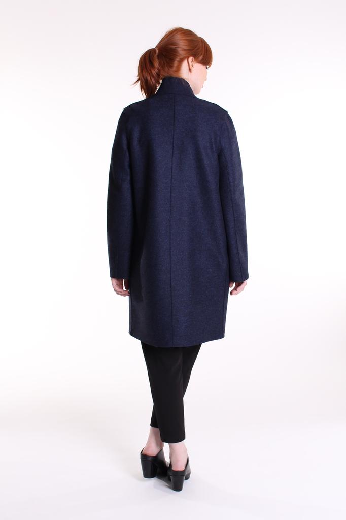 Cocoon coat - blue mouline