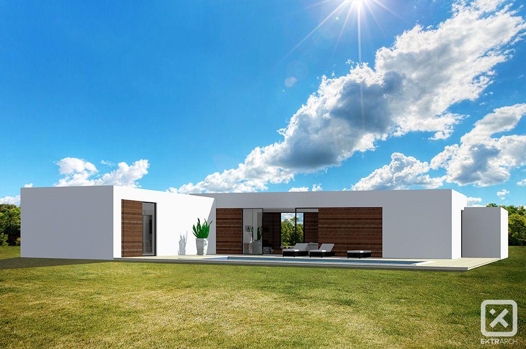 Extrarch render esterno villa moderna contemporanea intonaco
