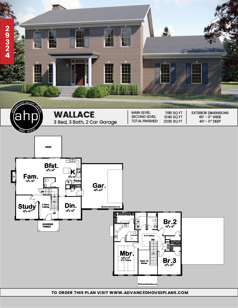 2 Story Colonial House Plan Wallace Colonial House Plans House Plans Colonial House
