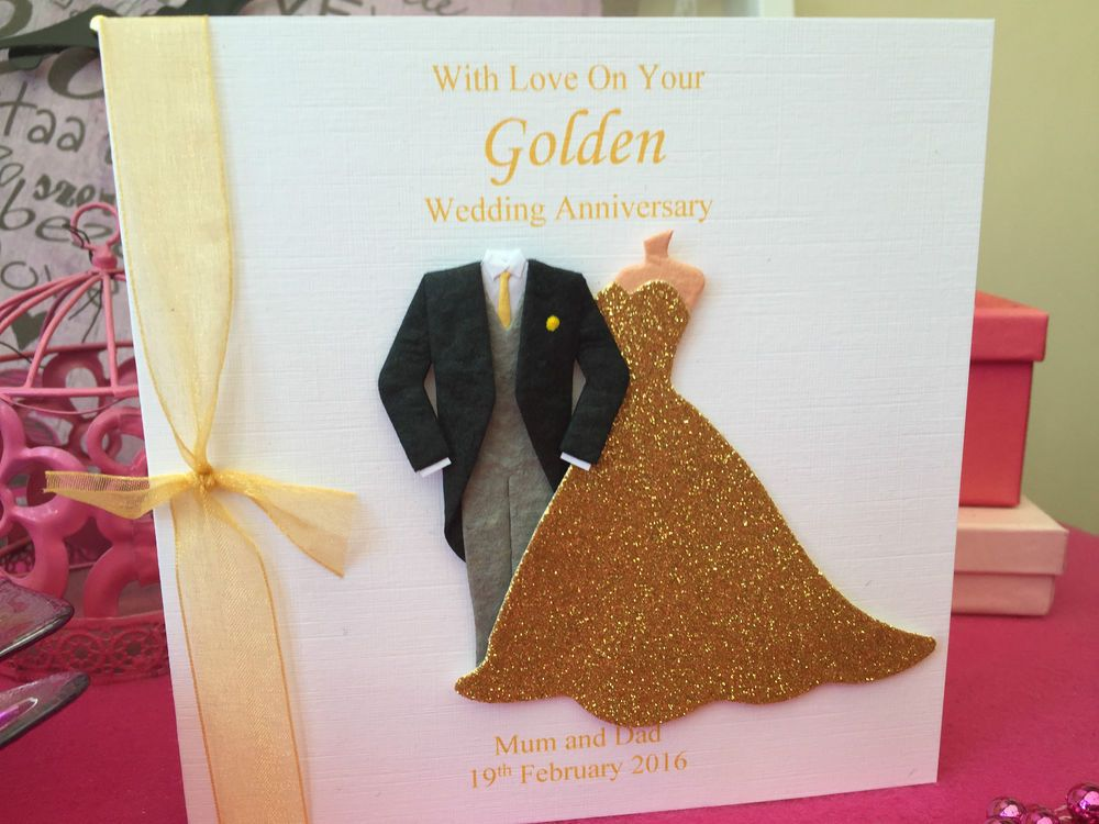 Details About Personalised 50th Wedding Anniversary Card Golden
