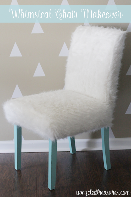 Whimsical Faux Fur Office Chair Makeover - UpcycledTreasures.com  ~ shared at Brag About It Link Party on VMG206 (Monday's at Midnight). #bragaboutit