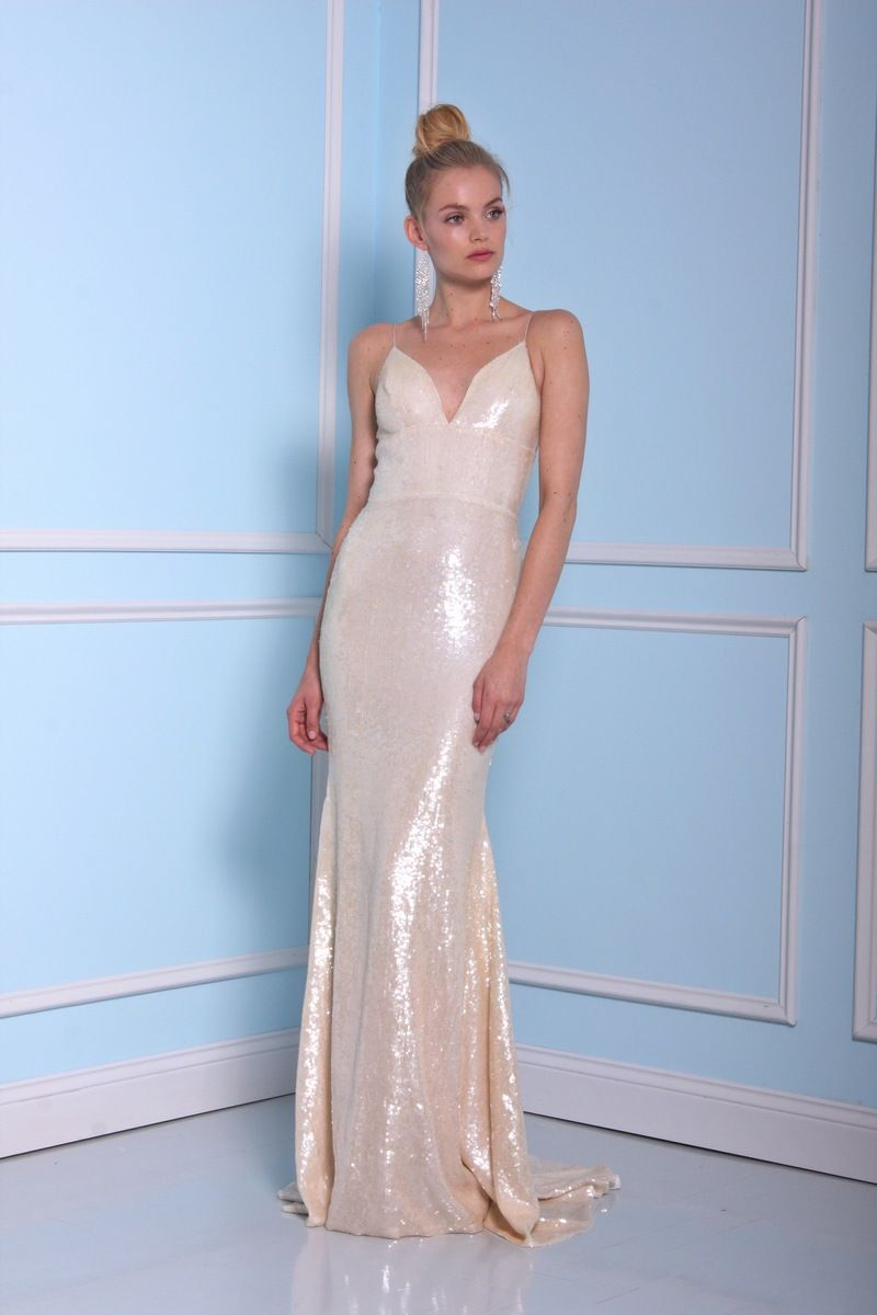 Light gold sequins wedding dress by Christian Siriano wedding dresses 2016 | fabmood.com