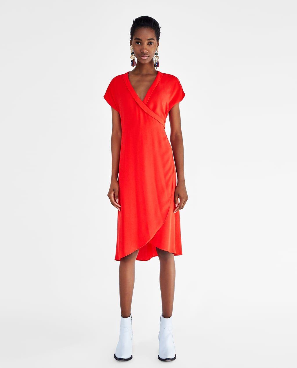 Zdjecie 1 Kopertowa Sukienka O Asymetrycznym Kroju Z Zara Red Wrap Dress Dresses Fashion