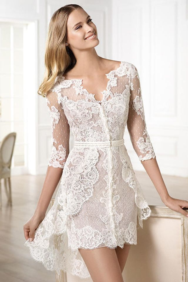 Lace 34 sleeved short wedding dress for how to organise an lace 34 sleeved short wedding dress for how to junglespirit Choice Image