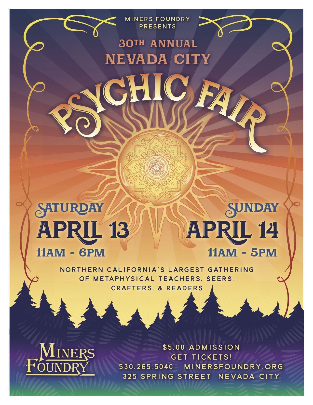 Nevada City Psychic Fair, Saturday & Sunday, April 13th