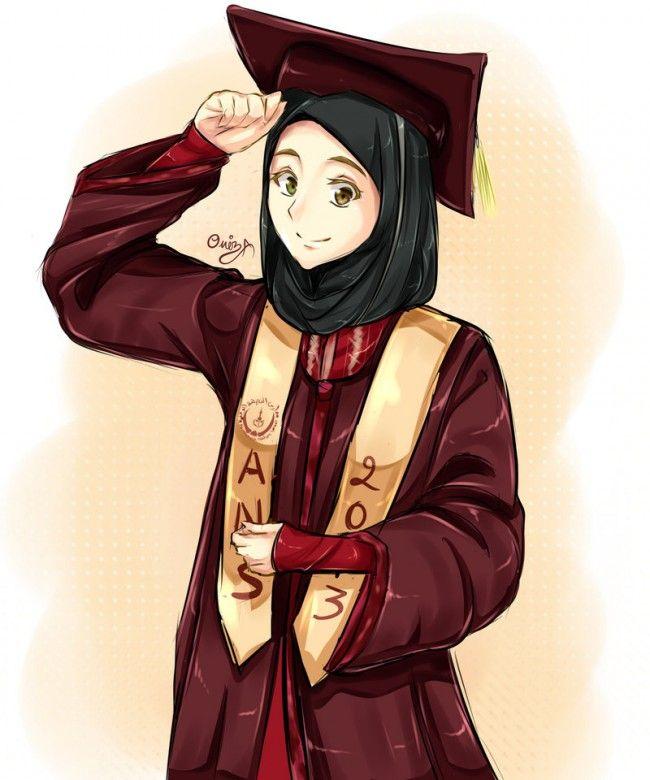 Image result for graduation cartoon MUSLIMAH