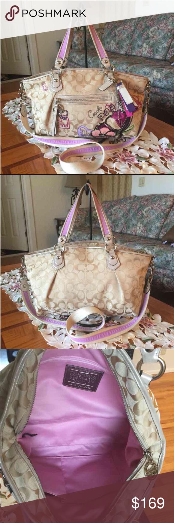 Rare coach poppy satchel Rare coach poppy purse,large,tan/lavender ,silvertone hardware,it has normal wear from used,smoke/pet free Coach Bags Satchels