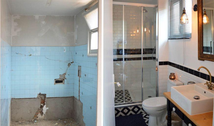 Avant/après  salle de bains au look rétro - Aménager une petite