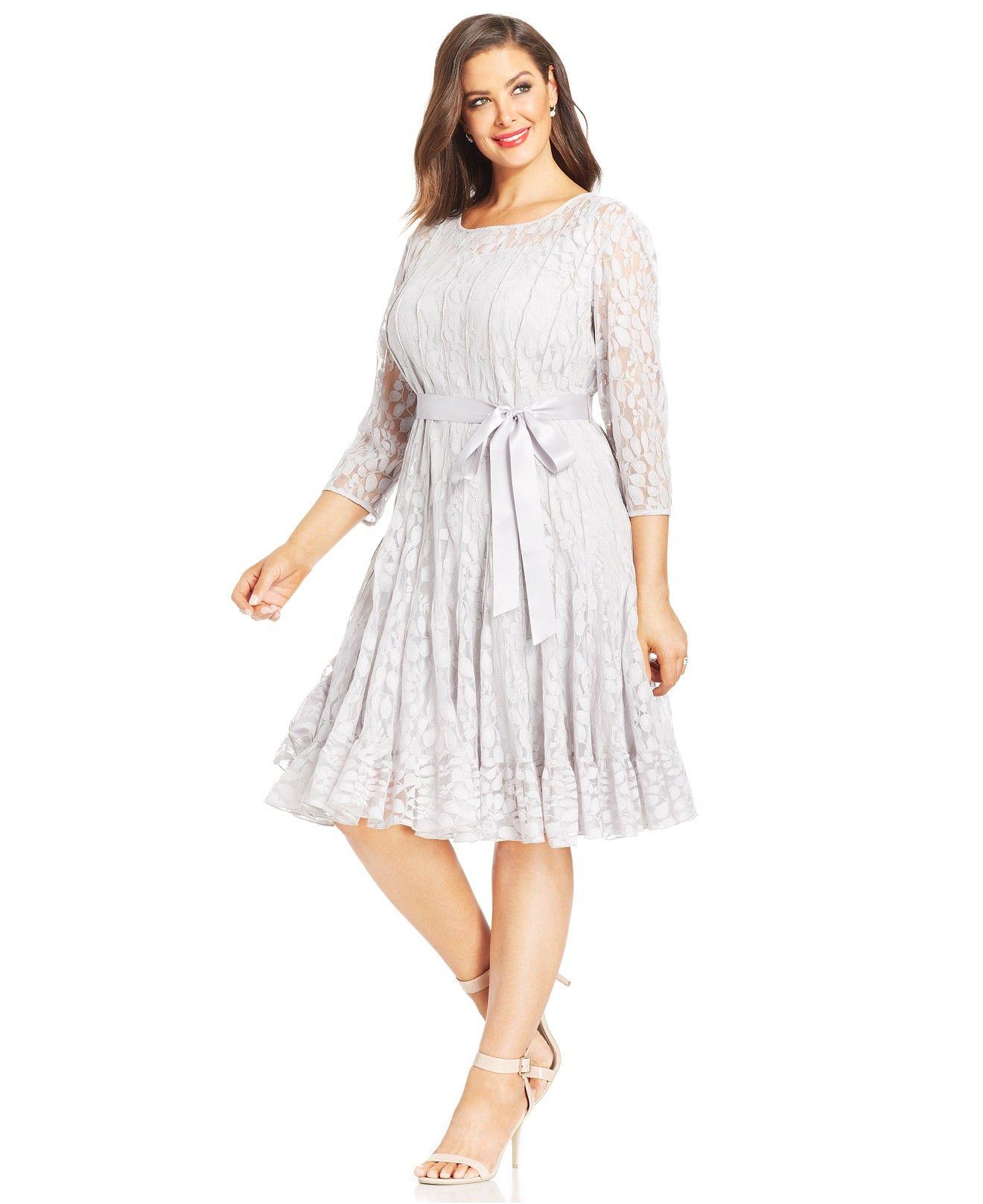 Msk Plus Size Illusion Floral Lace Dress Dresses Plus