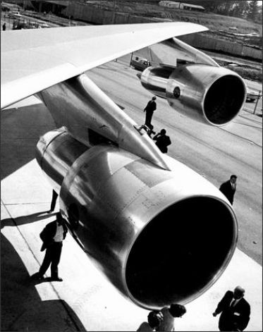 The wing of Boeing's first 747 is shown at the Boeing Everett plant during the jet's rollout on Sept. 30, 1968. Photo: Phil H. Webber/Seattl...