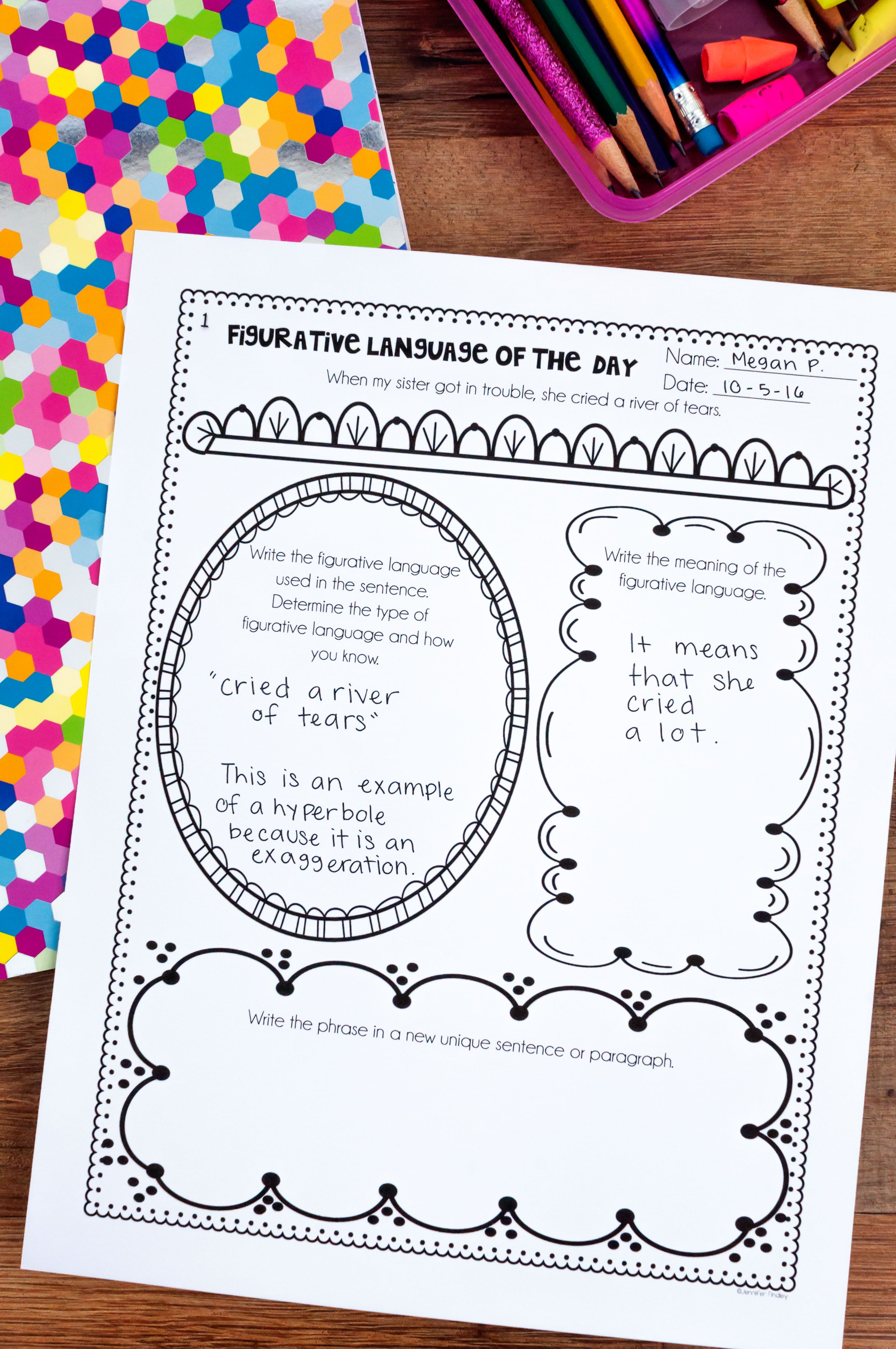 Figurative Language Of The Day Printables 4th 5th Grade