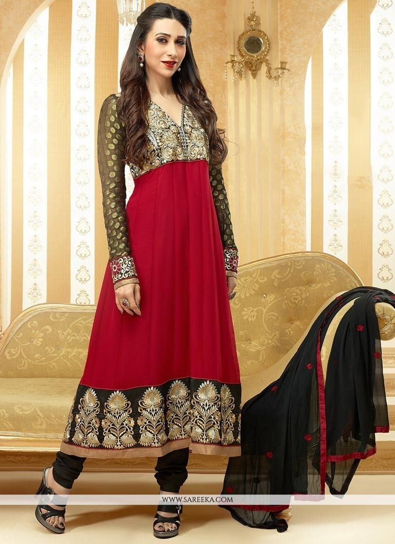 Red and black faux georgette anarkali suit anarkali suits