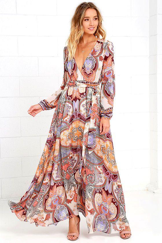 1fb6abb8dcc Boho Dress - Cream Print Dress - Maxi Dress - Paisley Dress - Long Sleeve  Dress -  74.00